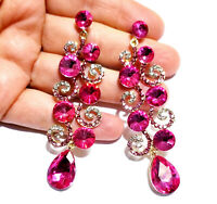 Chandelier Earrings Rhinestone Hot Pink Crystal 3.2 in