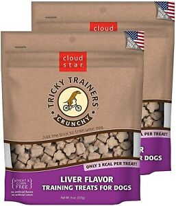 Cloud Star Crunchy Tricky Trainers Training Treats for Dogs, Liver, Pack of 2