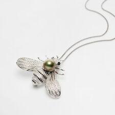 AAA 10.2mm Pistachio Genuine Tahitian Pearl Bee Brooch Sterling Silver Pendant
