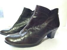 "Gabor Leather Brown Ladies Ankle Boots Booties Sz 5 1/2 5.5 Western 2"" Heel"
