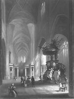 Ghent Sint-Baafs SAINT BAVO'S CATHEDRAL CHURCH PULPIT ~ 1843 Art Print Engraving