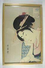 Japanese Woodblock Print Geisha Framed 15 5/8 x 10 1/4 inch Japan Brush Scroll
