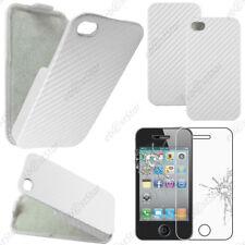 Etui Coque Housse a Rabat Revêtement Carbone Blanc Apple iPhone 4S 4 + Verre