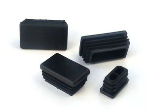 Rectangular Plastic End Caps Ribbed Plugs Blanking Inserts Rectangle Bungs/Black
