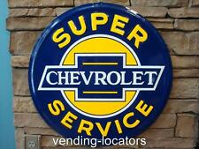 "CHEVROLET 24"" Super Service Embossed Metal Round Sign Vintage Style Garage New"