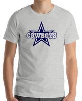 DALLAS COWBOYS Gray T-shirt  Navy Graphic Cotton Adult Logo S-2XL