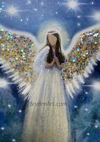 Glittered PRINT ACEO Angel Miniature Spiritual Religious CapeCodArtist