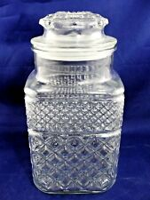 """Anchor Hocking Wexford Crystal Clear Glass Flour Canister Cookie Jar 9.25"""""""