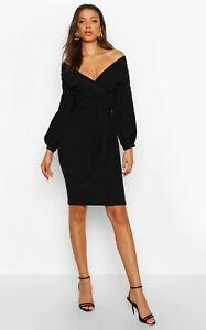 Boohoo Black Off Shoulder Wrap Waist Bodycon Dress Size 8 - 12