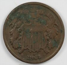 1864 Two Cent Early US Type Coin 2C