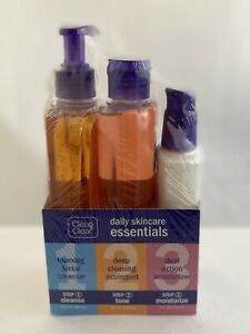 CLEAN & CLEAR Daily Skincare Essentials Cleanse, Tone, Moisturize 3 Bottle Set