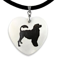 Portuguese Water Dog Natural Mother Of Pearl Heart Pendant Necklace Chain PP174