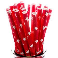 White Stars on Red Straws x25 retro cakepop sticks vintage drinking