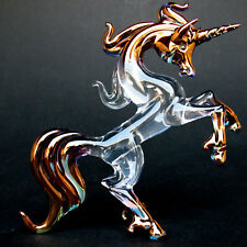 Unicorn Rearing Figurine Sculpture of Hand Blown Glass