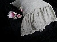 100% Linen PILLOW SHAM long ruffle ,ruffled pillow case eco bedding pillow cover