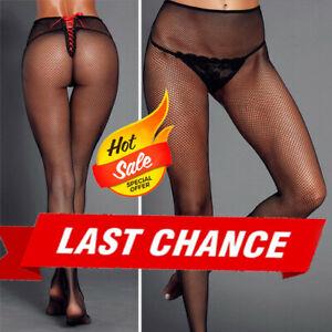 Women's Black Sheer Fishnet Stockings Pantyhose Red Lace Up Corset Back Netting