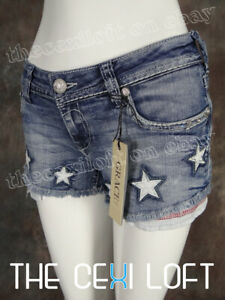 Womens Shorts American Flag White Leather Stars Red Embroidered Trim GRACE IN LA