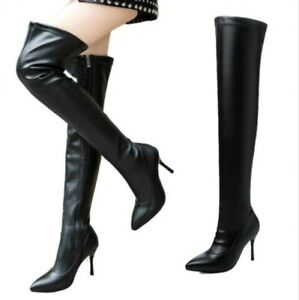 Women's Sexy Casual Stilettos High Heel Over The Knee Thigh Boots Pointy Toe D