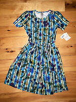 Womens Lularoe Amelia Short Sleeve Colorful Dress Flowers Size Small S New NWT