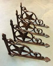 SET OF 4 WESTERN STAR SHELF BRACKET/BRACE, Antique Rustic Brown patina cast iron