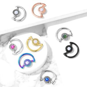 GLITTER CENTER CRESCENT MOON STEEL EAR CARTILAGE DAITH PIERCING RING HOOP 18-16G