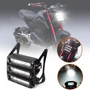 Motorcycle Front Headlight Set Fog LED White Light Waterproof 12V 6500K Driving
