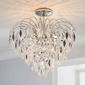 Parla 3 Light Jewels Semi-Flush Ceiling Fitting Pendant Clear Chandelier #NG