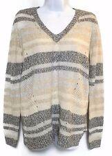NWT Women's Sonoma Life + Style Multi Color Eyelet Sweater Size Medium