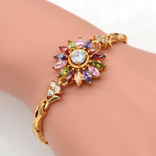 Womens 18K Gold Plated Multiple-Color CZ Flower Charm Bracelet Bangle Jewelry