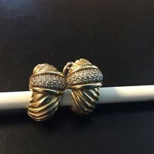 Woman's 14K and pave diamond earrings