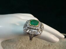 Vintage estate 14k white gold Massive Diamond Emerald ring 5.25 tcw !!
