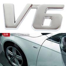 1PCS Car Metal Silver V6 Logo 3D Decal Badge Emblem Sticker Auto Number Stickers