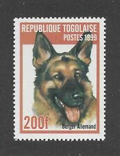 Art Head Portrait Postage Stamp GERMAN SHEPHERD DOG ALSATIAN Togo 1999 MNH