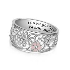 Hollow-out Daisy Woman Man 925 Silver Ring  Wedding Engagement  Band Size 6-10