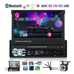 """1DIN Radio de coche 7"""" Bluetooth MP5 FM USB Retráctil Pantalla táctil con Cámara"""