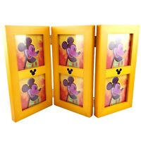 Disney Mickey Mouse Picture Frame Honey Wood Tri Fold Desk Six Photo New In Box