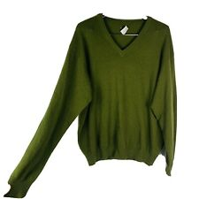 United Colors of Benetton Men's lambs wool sweater size large green vee neck VTG