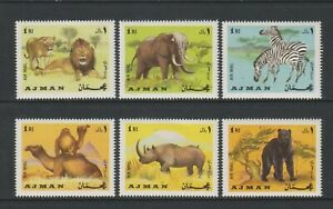 Ajman - 1966, Tieren - Löwe, Zebra, Rhino, Elefant, Bär, Camel Set - MNH