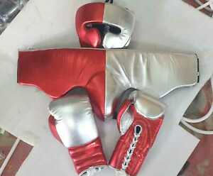 new customized leather boxing gloves set with any  name or logo or winning log