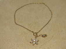 Flower Dangle Gold Vermeil Sterling Silver Anklet with Cz