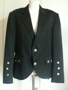 Vintage black wool Argyll Jacket to wear with the Scottish Kilt Magee chest 40R