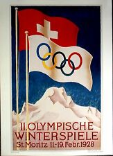 """1928 St.Moritz - WINTER OLYMPIC POSTER - IOC Licensed Poster reprint - 13"""" x 18"""""""
