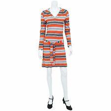 1960's Vintage Women's S or 6 Striped Knit Belted Mod Shirt Dress Sheath Dress