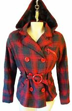 PLAID red tartan hunting checker peacoat small hood gray wool blend punk joujou