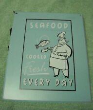 Tin Sign Seafood Cooked Fresh fish metal  Art Decor New