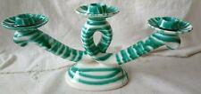 Kerzenständer Gmundner Keramik grün geflammt 3-armig  (ANr. A1297)