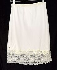 "Vintage Bullocks Wilshire White Half Slip with 4.5""  Scalloped Floral Lace Sz M"