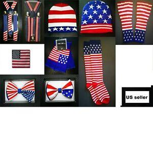 Men Women USA Flag Suspender Y-Shape Bow Tie Beanie Finger Gloves Socks Bandana