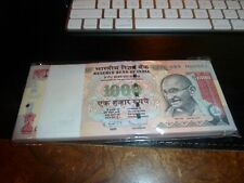 1000 Rupees Pack of 100 - Serials 1 thru 100 - No Longer Printed