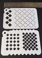 2 in 1 DIFFERENT SQUARES PATTERNS Airbrush Paint Stencils Face Body Cake Wall